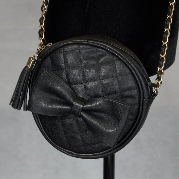 3 AM FOREVER BLACK ROUND CROSSBODY * WITH BOW!